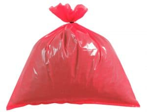 "Red plastic bags Heavy Duty 18X29X39"" x 100. 15kg"